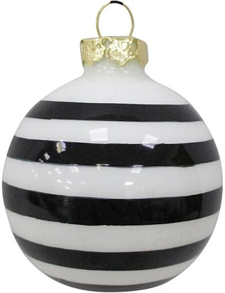 6cm Glass White and Black Stripe Bauble Ornament