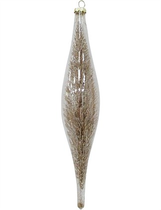 26cm Glass Finial with Gold Glitter Branch Inside Ornament