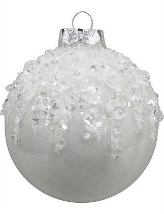 Glass Bauble with Sequins Ornament  - Multi
