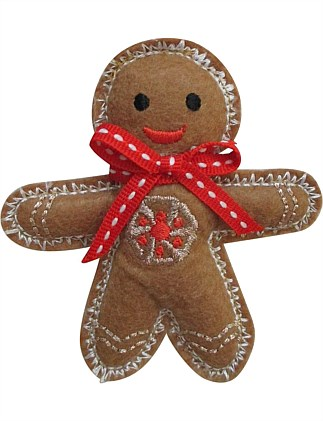 Fabric Gingerbread Man with Red Bow Ornament