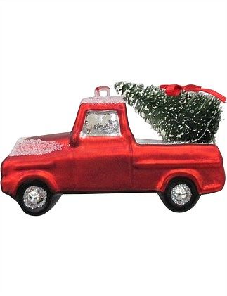 Glass Car with Tree Ornament