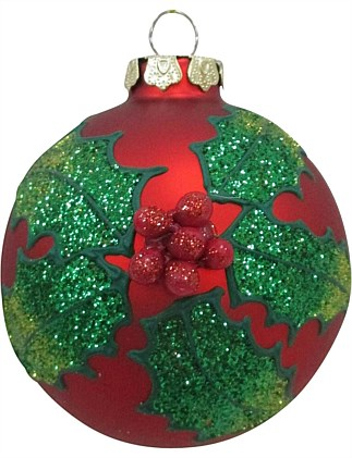 Glass Bauble Ornament with Holly Leaves