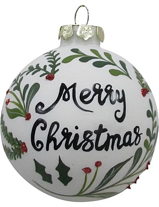 Glass Bauble Ornament with Merry Christmas