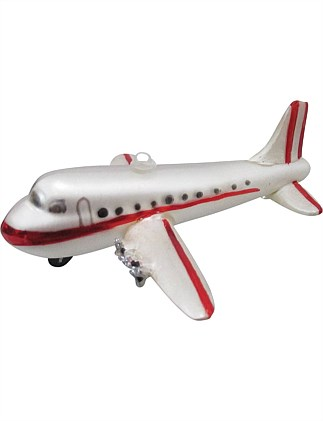 Glass Aeroplane Ornament - White