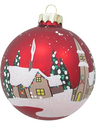 Glass Bauble with Snowy House Ornament