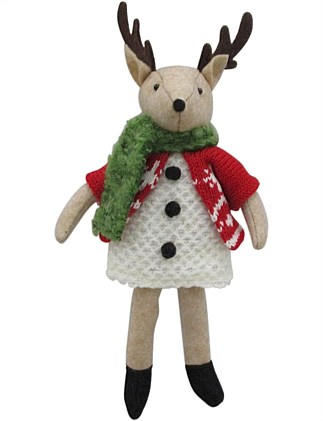 Fabric Reindeer Girl Ornamenti