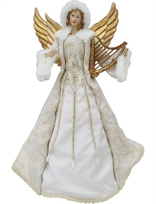 40Cm Angel with Harp Decor Tree Topper