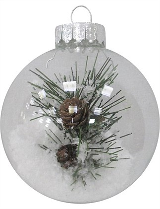 8cm Glass Clear Ornament with Snow & Pine Leaf Inside Bauble