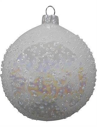 8cm Glass White Irridescent Bauble Ornament