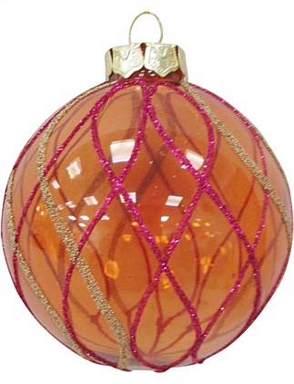 8cm Glass Orange Ball with Red Gold Glitter Stripe Ornament