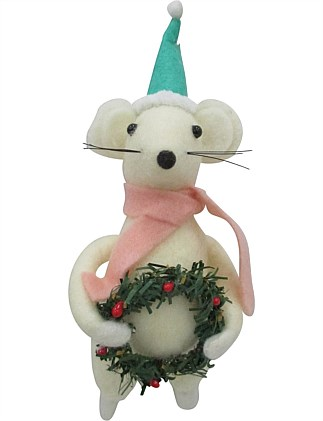 Fabric Mouse Pink Scarf Ornament