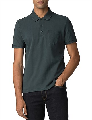 HONEYCOMB COLLAR PIQUE POLO DARK GREEN