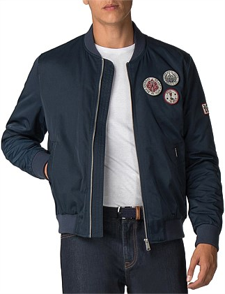 SATEEN BADGE BOMBER DARK NAVY