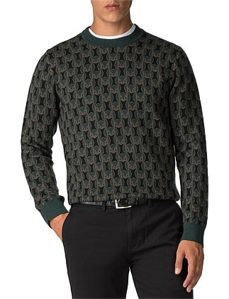OWL ALL OVER KNIT DARK GREEN