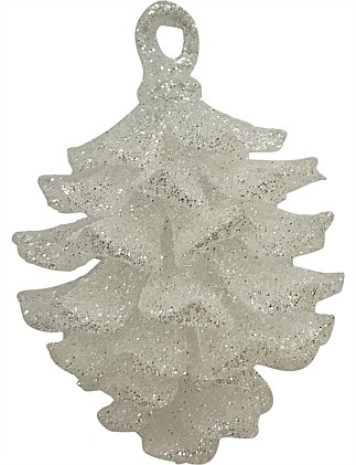 9cm Plastic Pinecone with Glitter Ornament