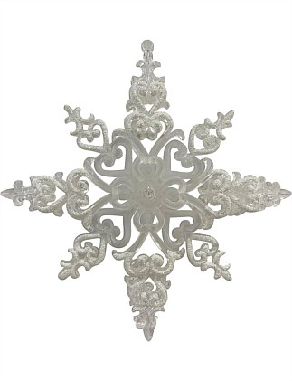 Frosted Glitter Snowflake Ornament - White