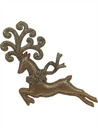18cm Ornate Reindeer with Gold Glitter - 2 Assorted