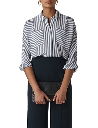 71207cbc0bc9c BLOCK STRIPE BLOUSE Special Offer