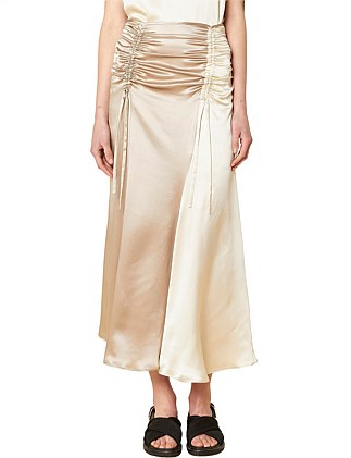 Adela Silk Ruched Skirt
