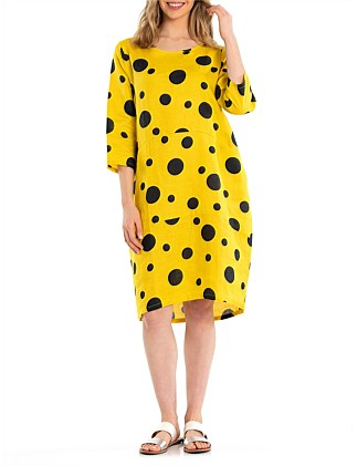 3/4 SLEEVE BLACK SPOT DRESS