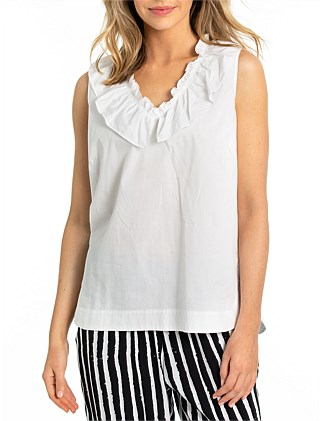 SLEEVLESS FRILL NECK TANK