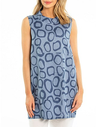 Sleeveless Spiral Spot Tunic