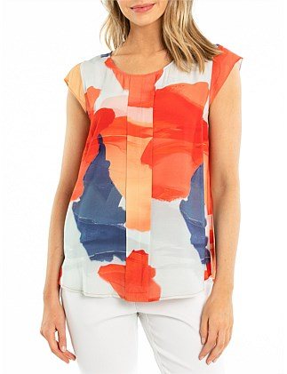 CAP SLEEVE SUNSET SHIRT