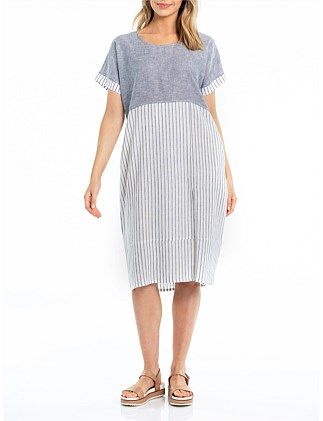SHORT SLEEVE MIXED LINEN DRESS