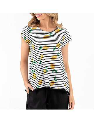 S/S STRIPE LEMON TEE
