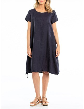 S/S SPLICED HEM TIE DRESS