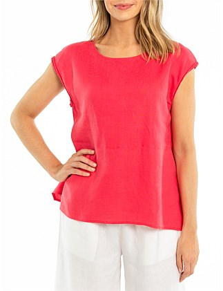 Cap Sleeve Flared Hem Shirt