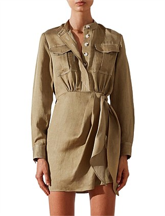 ELLINGTON DRAPED MINI SHIRT DRESS