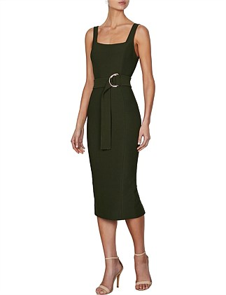 Davis Square Neck Fitted Midi Dress With D Ring