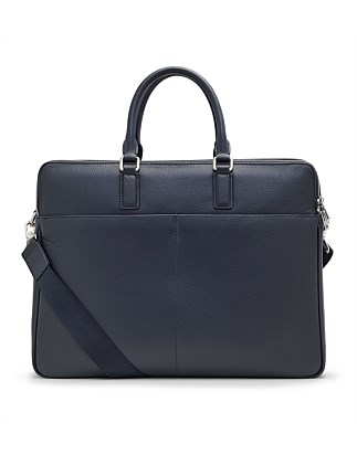 Navy Pebbled Leather Briefcase