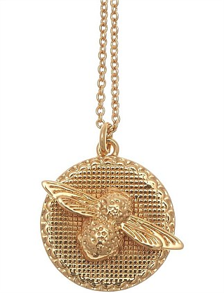 3D Bee Coin Necklace Gold