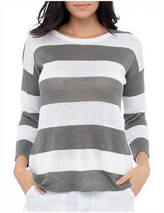 3/4 SLEEVE STRIPE KNITWEAR