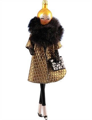 ORN -LADY WITH GOLD CAPE & FAUX FUR COLLAR