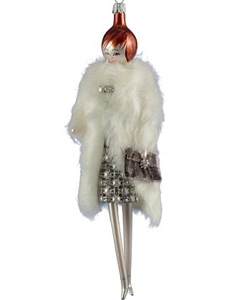 ORN -LADY WITH FAUXFUR COAT & STRASS DRESS