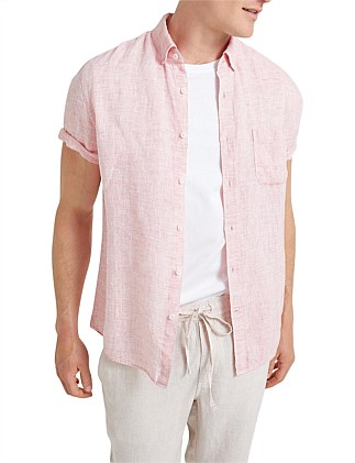 Short Sleeve Linen Yarn Dyed Shirt