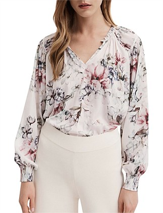 Print Pleated Shoulder Blouse