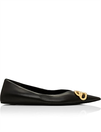 SQUARE KNIFE BB BALLERINA FLAT BLACK NAPPA