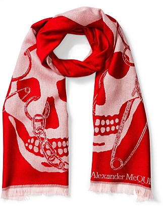 Chained Big Skull Scarf