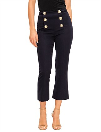 CROPPED FLARED 6 BTN WOOL PANTS