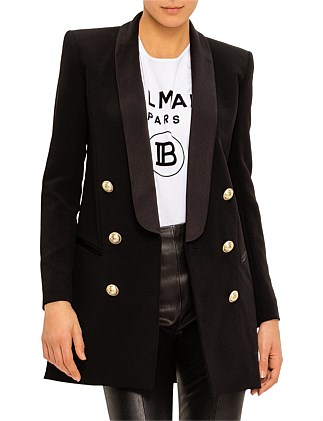 6 BTN SATIN LAPEL CREPE JACKET