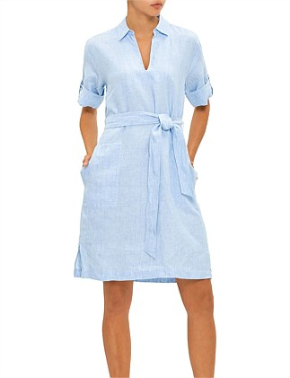 Linen Collared Tunic Dress