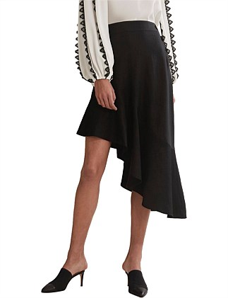 Asymmetric Button Skirt
