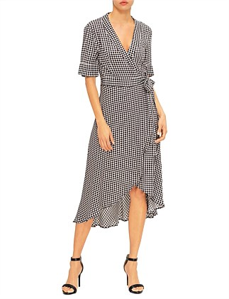 GINGHAM CHECK WRAP DRESS