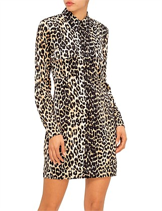 LEOPARD SILK SHIRT DRESS