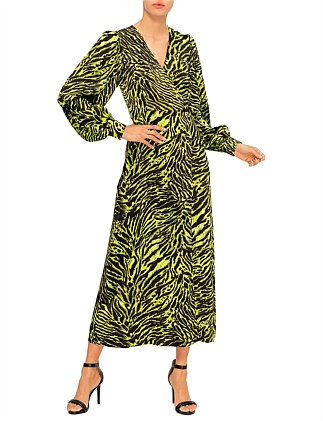 TIGER SILK WRAP DRESS