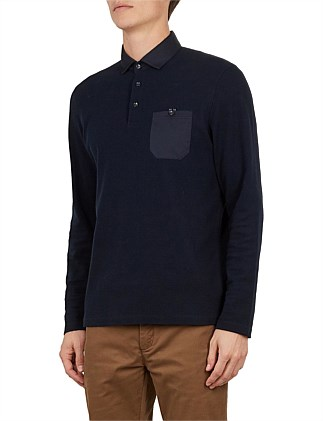 leopard ls textured woven collar polo